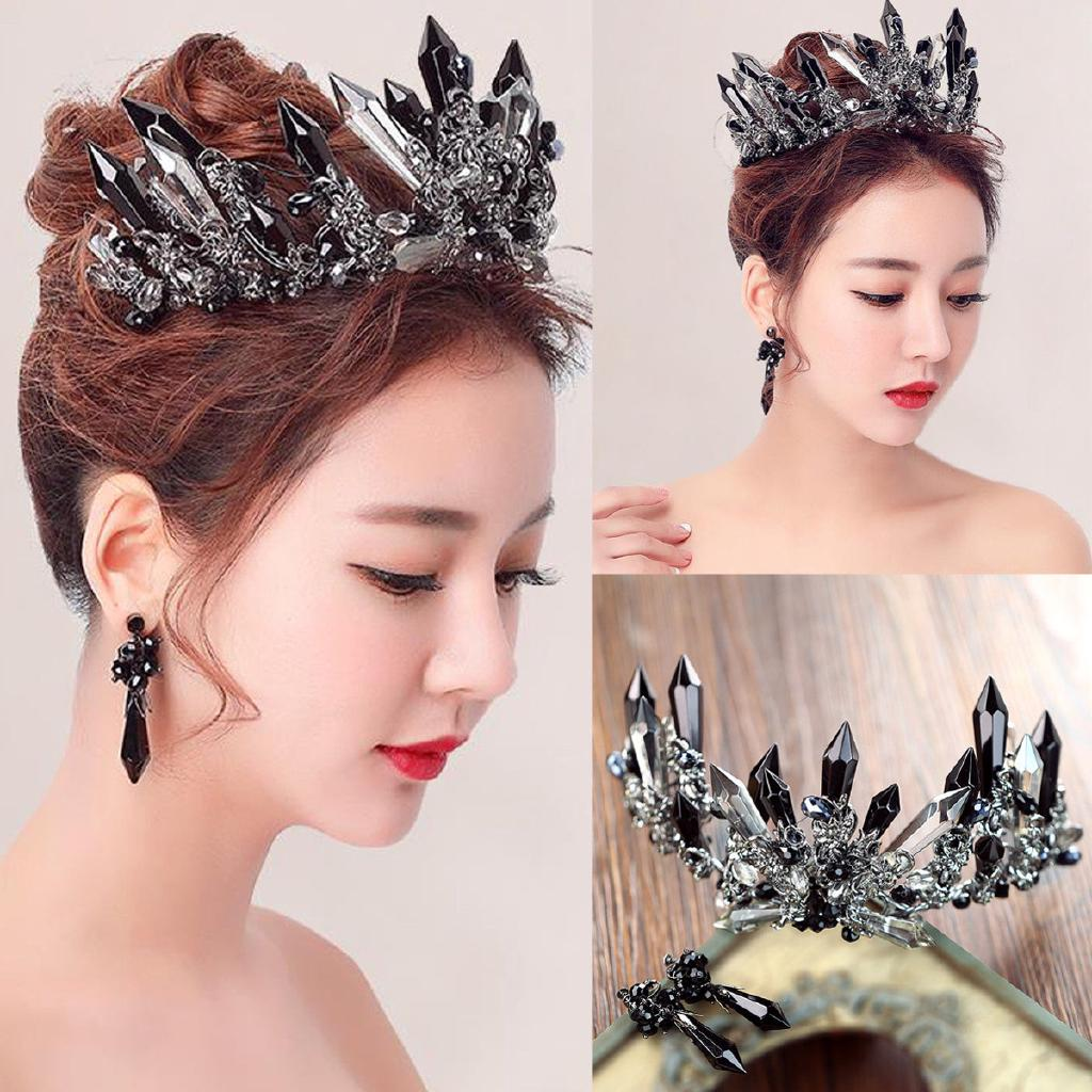 handmade black crystal wedding bridal tiara hair accessories