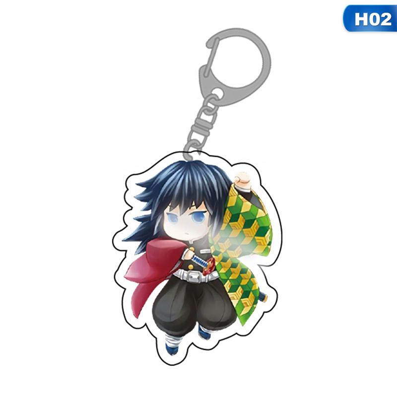 1PC Anime Demon Slayer Kimetsu no Yaiba Acrylic Keychain Keyrings Pendants F7H9