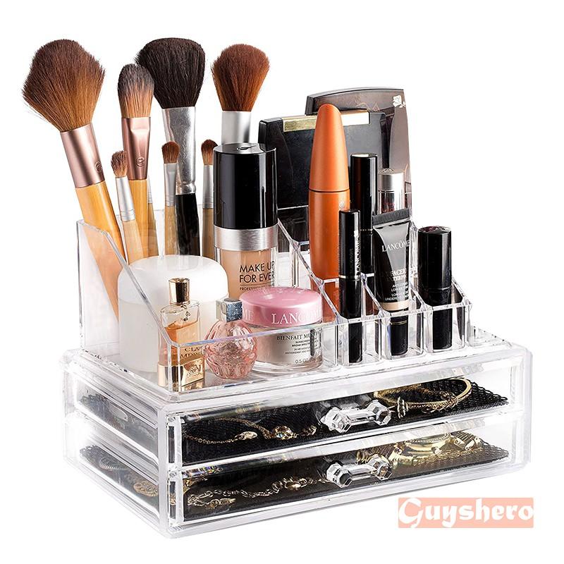 Clear Plastic Cosmetic Makeup Organizer Desktop Storage Box Case Container Rack