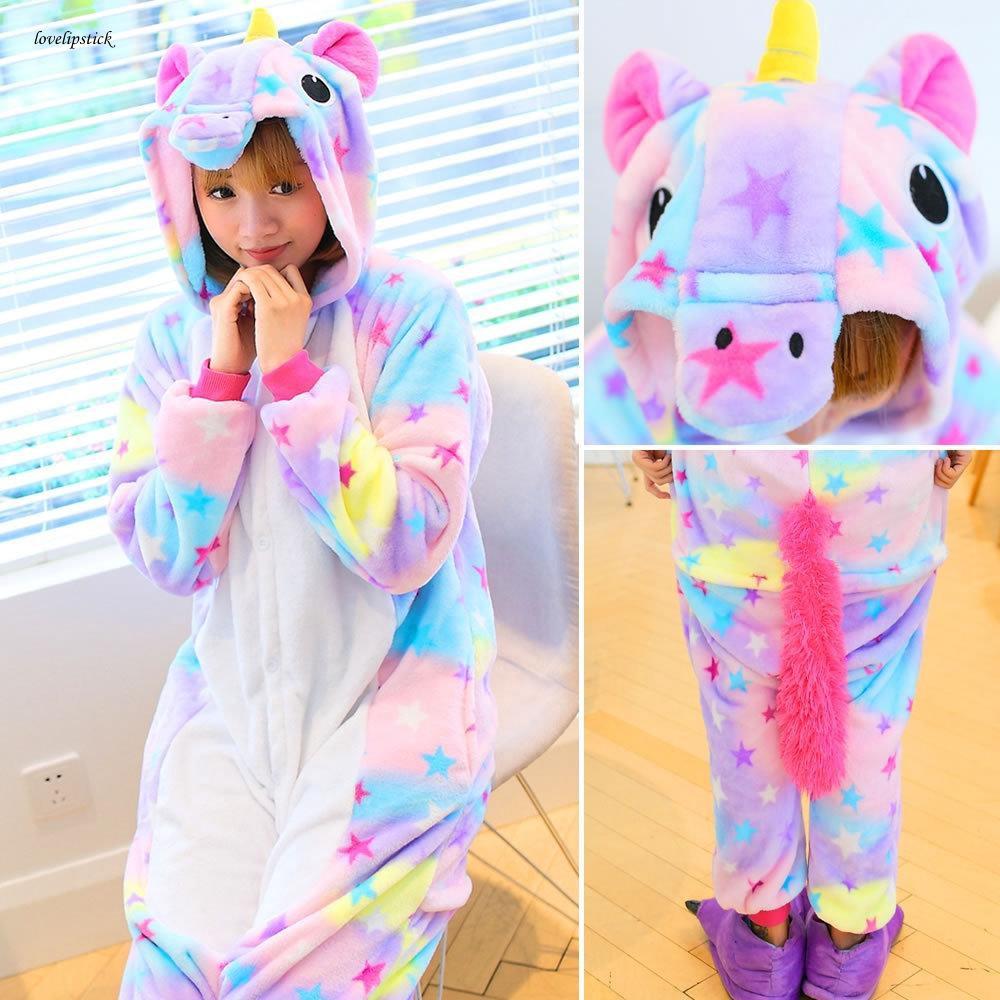 8322f05b ❉[love] Animal Pajamas Unicorn Pyjamas Set Adult Unisex Costume Sleepwear  Winter Suit