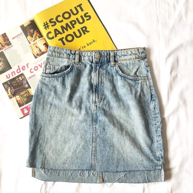 859321f7e3 H&M Inspired Korean Denim Asymmetrical Ripped Skirt | Shopee Philippines