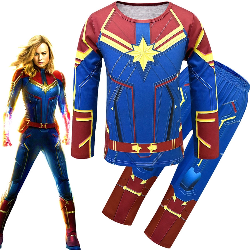 Kids Girls Captain Marvel Costume The Avengers Long Sleeve Tops Long Pants Cosplay Clothes Shopee Philippines I had an amazing opportunity to work on captain marvel character at dneg for endgame. kids girls captain marvel costume the avengers long sleeve tops long pants cosplay clothes