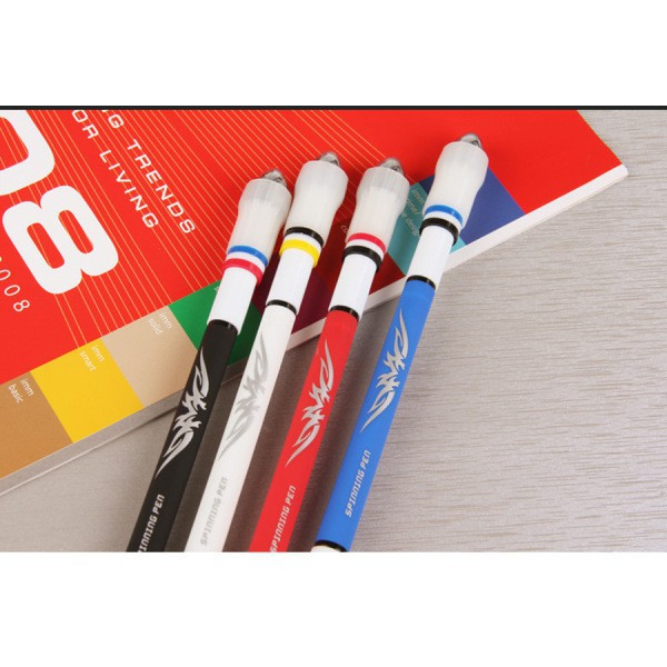 DragonPad Spinning Pen Smooth Surface Ant-Slip Anti-Drop Spinning Rotation Pen with 0.5 Pen Head for Fluent Writing Random Color Bullet Type 0.5