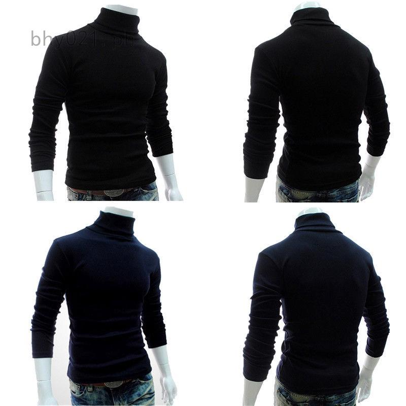 YUNY Mens Autumn Knitted Warm Turtleneck Winter Top Pullover Sweater Black L