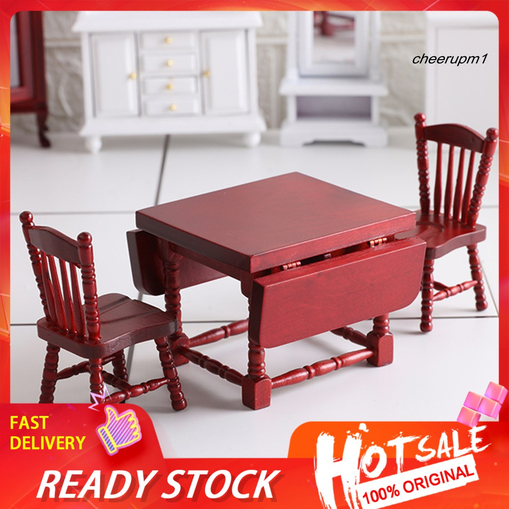 Xpwj Birch Folding Table Chair Model Accessories Decor Craft Gift For 1 12 Doll House Shopee Philippines