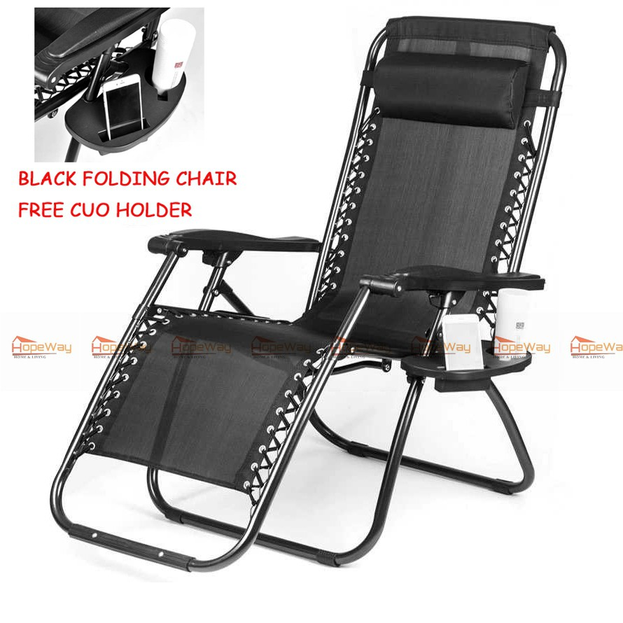 - Folding Chair Folding Bed Zero Gravity Chair (black/blue)Free Cup