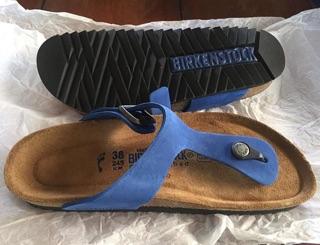 BIRKENSTOCK GIZEH BLUE NATURAL LEATHER 38