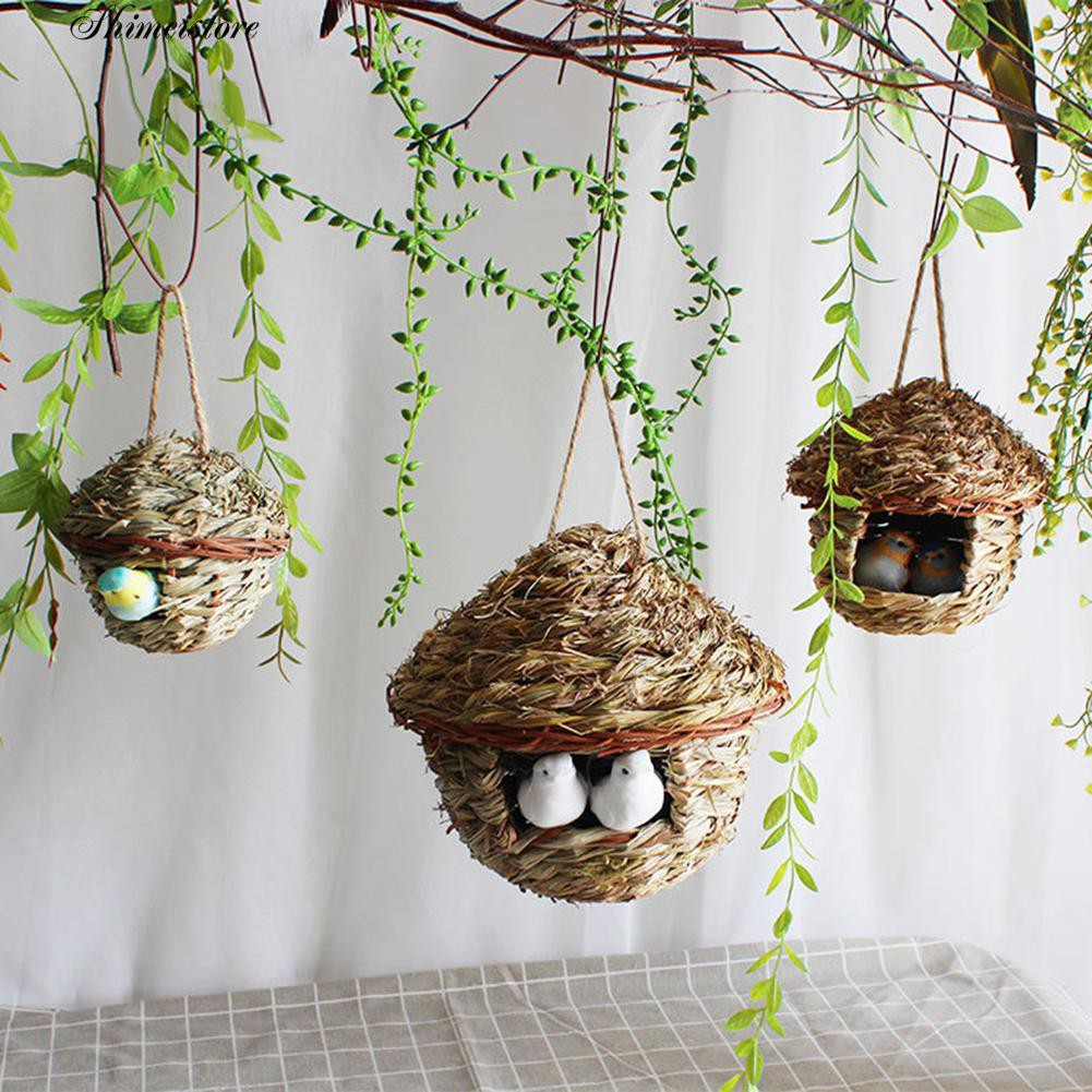 Natural Hanging Grass Nest Pet Birds House Straw Bird Nest Hatch Rest Hut