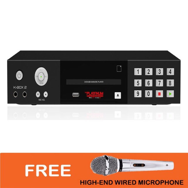 Platinum K-Box 2 Karaoke videoke Player W/Free Mic&Usb on