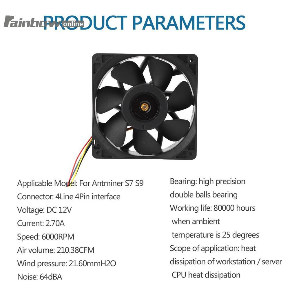 Cooling Fan Connector Brushless Cooler for Antminer S7 S9