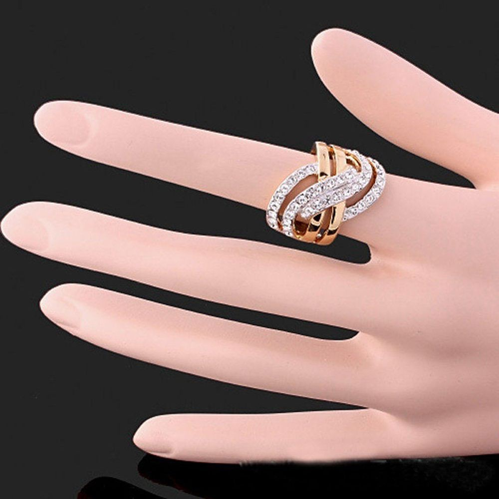 Bridal Jewelry Platinum Plated Pink Color Rhinestone Rings Heart ...