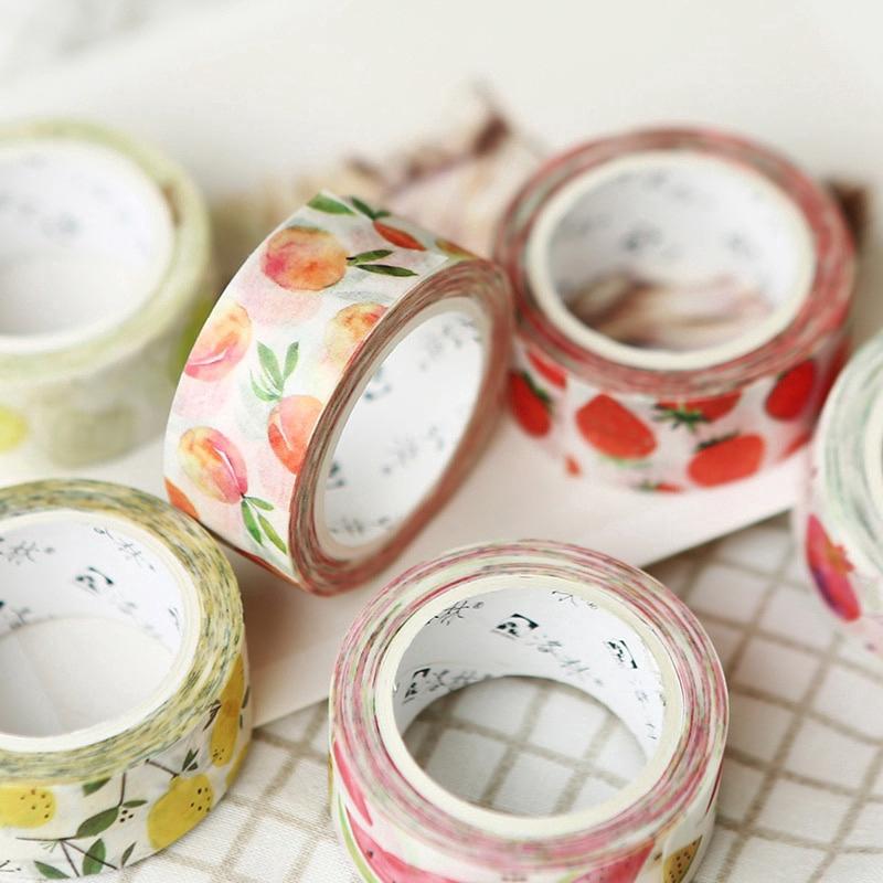 Fruit Series Paper Masking Tapes Washi Tape DIY Scrapbooking Sticker 15mm*7m u