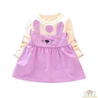Autumn Cute Baby Girls Cartoon Pattern Long Sleeve Patchwork Dress Kids Sundress