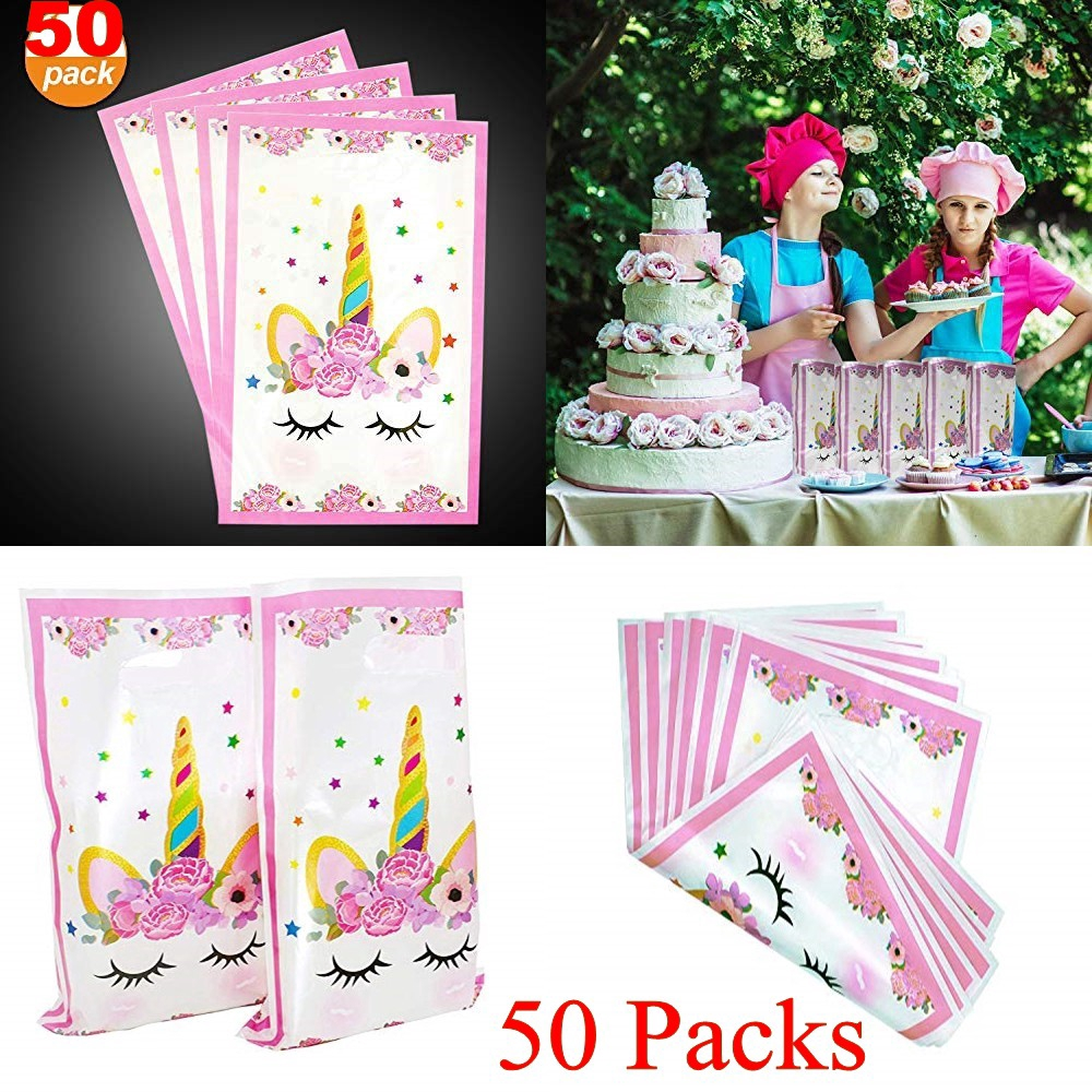 50 Pack Unicorn Favor Bags Treat For Kids Birthday Party Theme Supplies