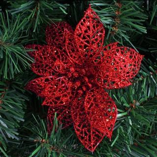 Christmas Flower Decorations.Xmas Tree Decorations Glitter Hollow Christmas Flowers