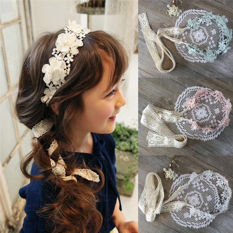 Cute Girl Headband Long Lace Ribbon Flower Hairband Kids Hair Accessories TO