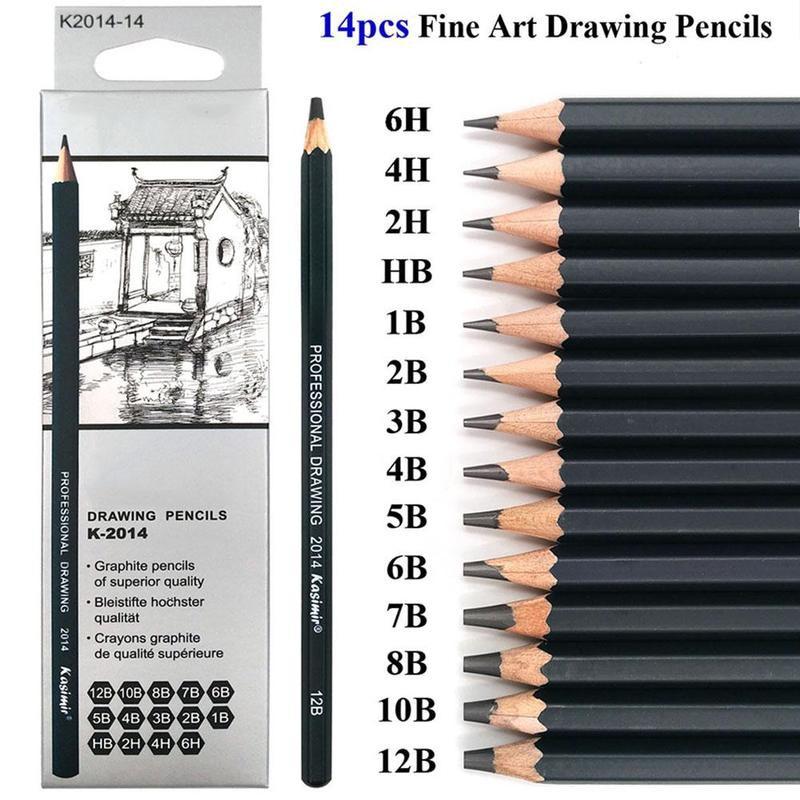 24Pcs Sketch Pencil Drawing Tool Sketching Art Kit 6H 4H 2H HB b 2B 3B 4 B 5B 6B