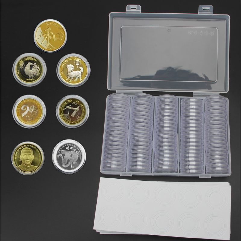 100x Transparent Coin Capsules Holder EVA Gasket With Plastic Storage Box Set