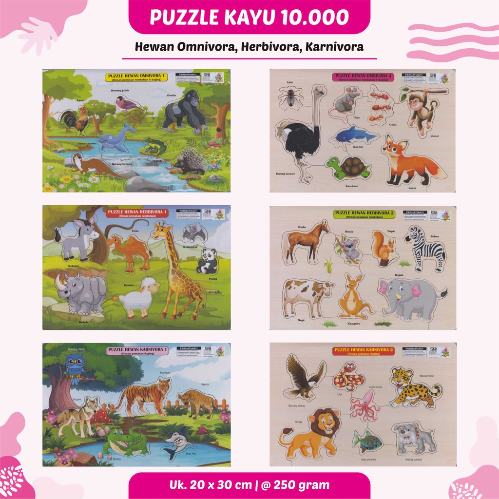 Cheap Wood Puzzle Toy Education For Children For Sale Of 10 000 Herbivora Carnivora And Omnivora Shopee Philippines