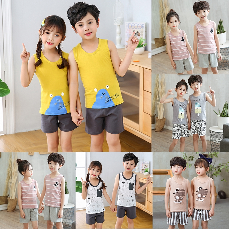 Summer Boys And Girls Cartoon Little Crocodile Striped Sleeveless Vest Solid Color Casual Shorts Suit 2pcs Set Shopee Philippines
