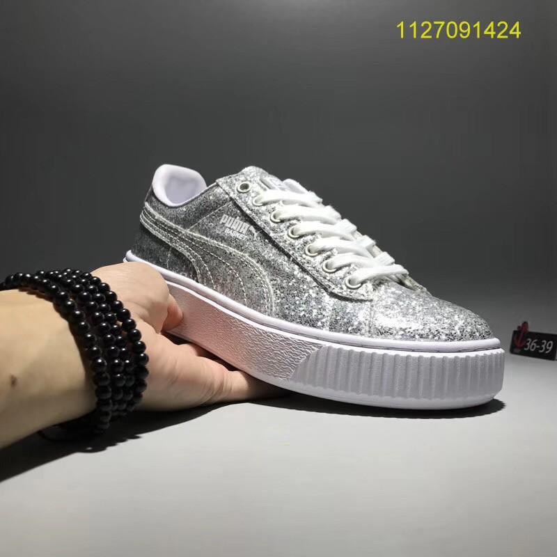 MYC PUMA Basket Platform Glitter silver women sport skateboard shoes 36 39