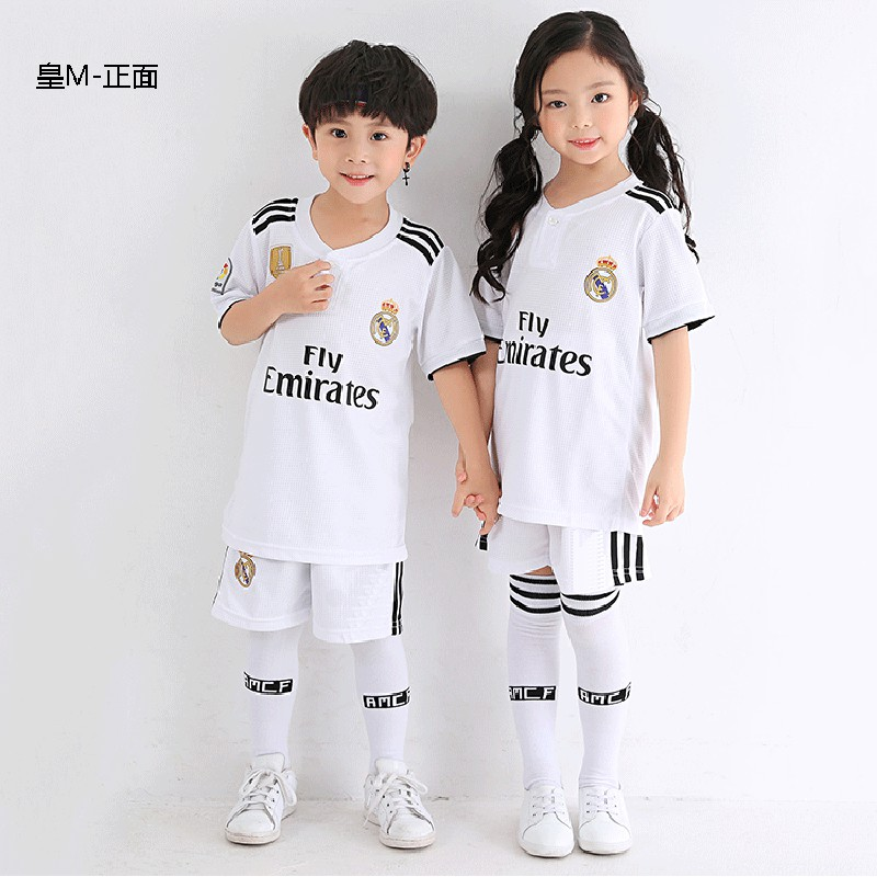 new style 3a2e9 5eb86 Real Madrid Kids Football Jersey Soccer Uniform Boys Clothes