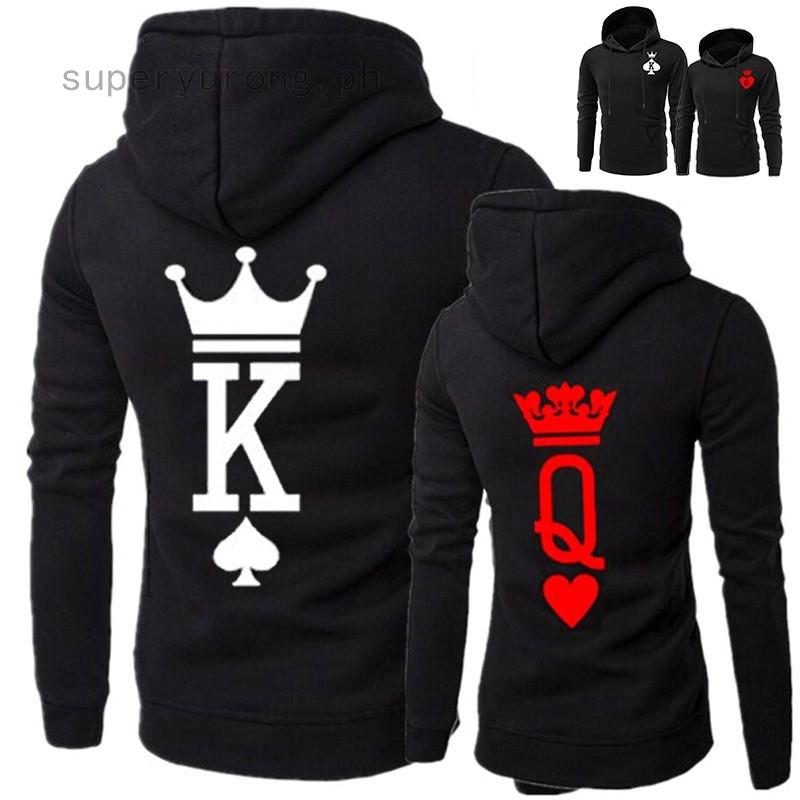 USA Men Women Hoodie Tops Sweatshirt Pullover Jumper King Queen Jacket Coats New