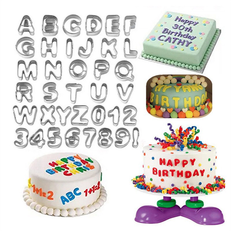 Swell 37Pcs Stainless Steel Alphabet Number Letter Fondant Cake Cookie Funny Birthday Cards Online Hendilapandamsfinfo