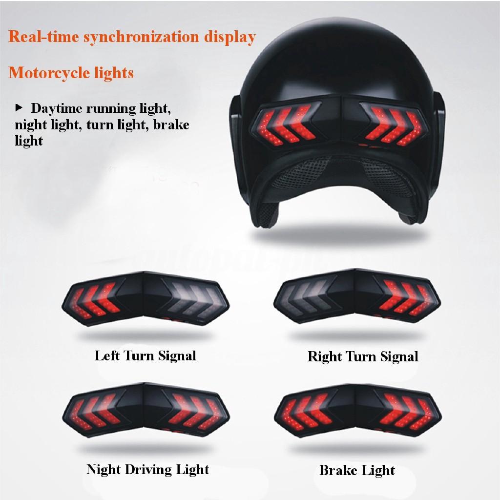 12V Wireless 8-LED Motorcycle Scooter Helmet Brake Stop Turn Signal Safety Light