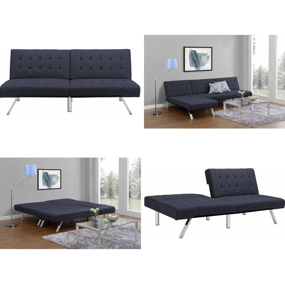 Fabulous Dhp Emily Convertible Futon Sofa Couch Blue Linen Sofabed Short Links Chair Design For Home Short Linksinfo