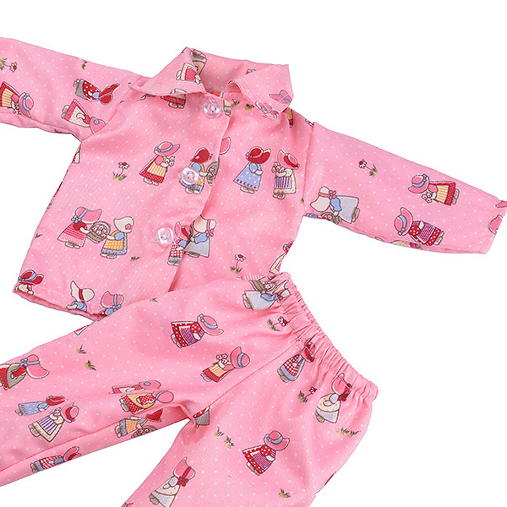 Pink Maple Leaves Pajamas Sleepwear for 18 inch Doll Accessory