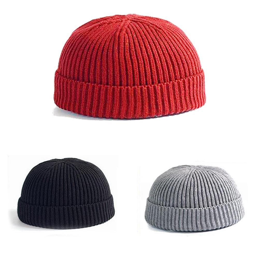 9c9db997c Simple Solid Color Short Knitted Cap Vintage Men Women Winter Warm Beanie  Hat