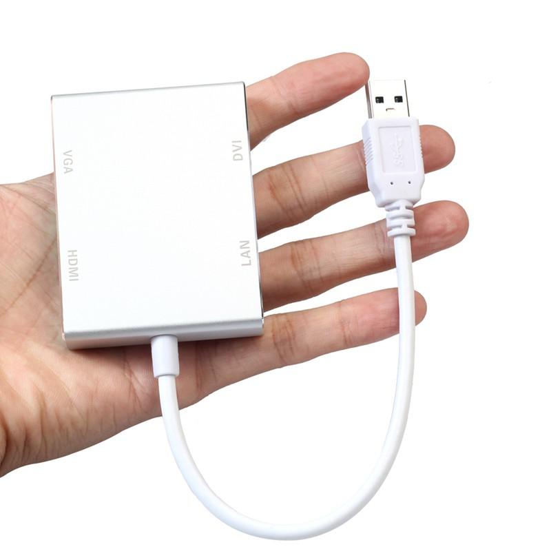 4 in 1 USB 3.0 to 4K HDMI VGA DVI RJ45 Gigabit Ethernet Adapter Converter Well