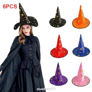 Womens Mens Witch Hat For Halloween Costume Accessory Stars Printed Cap id