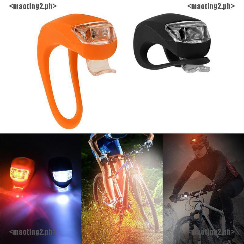 2X Silicone Bike Bicycle Cycling Head Front Rear Wheel LED Flash Light Lamp  MT