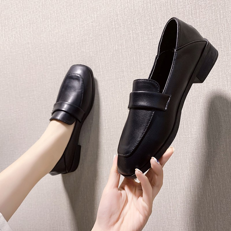 Retro British Small Leather Shoes Women S Shoes 2020 New Wild Flat Black With Skirt College Style Shoes Women Shopee Philippines