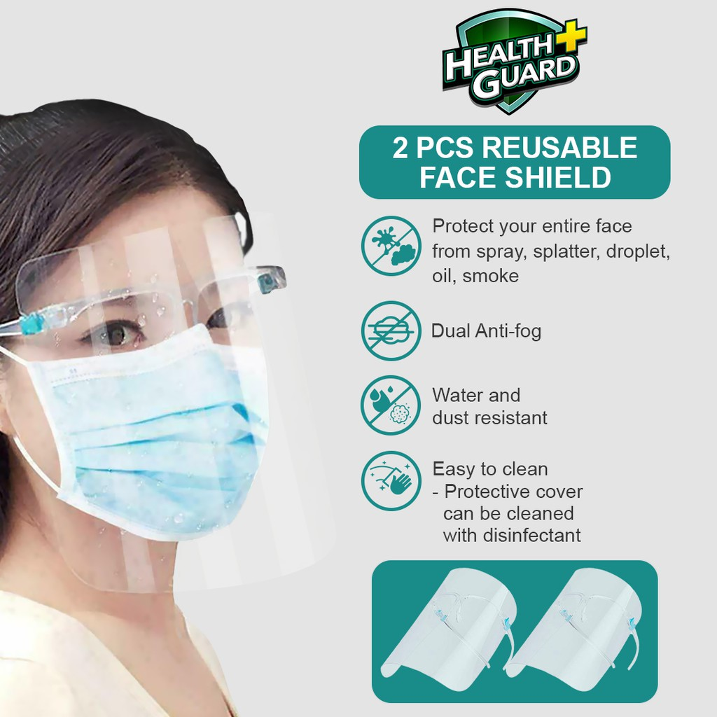 Health Guard 2 Pcs Reusable Protective Face Shield With Box Shopee Philippines