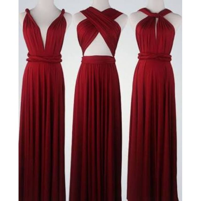 331964d8110 RED MAROON INFINITY DRESS FLOORLENGTH WITH TUBE