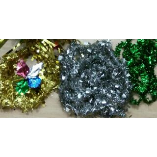 Christmas Tinsel Garland.Preloved Parol With Christmas Tinsel Garland