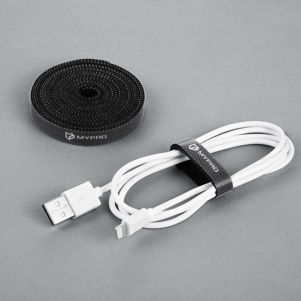 100Pcs Reusable Silverline Pack Black Hook Loop Cable Cord Ties Tidy Straps GIL