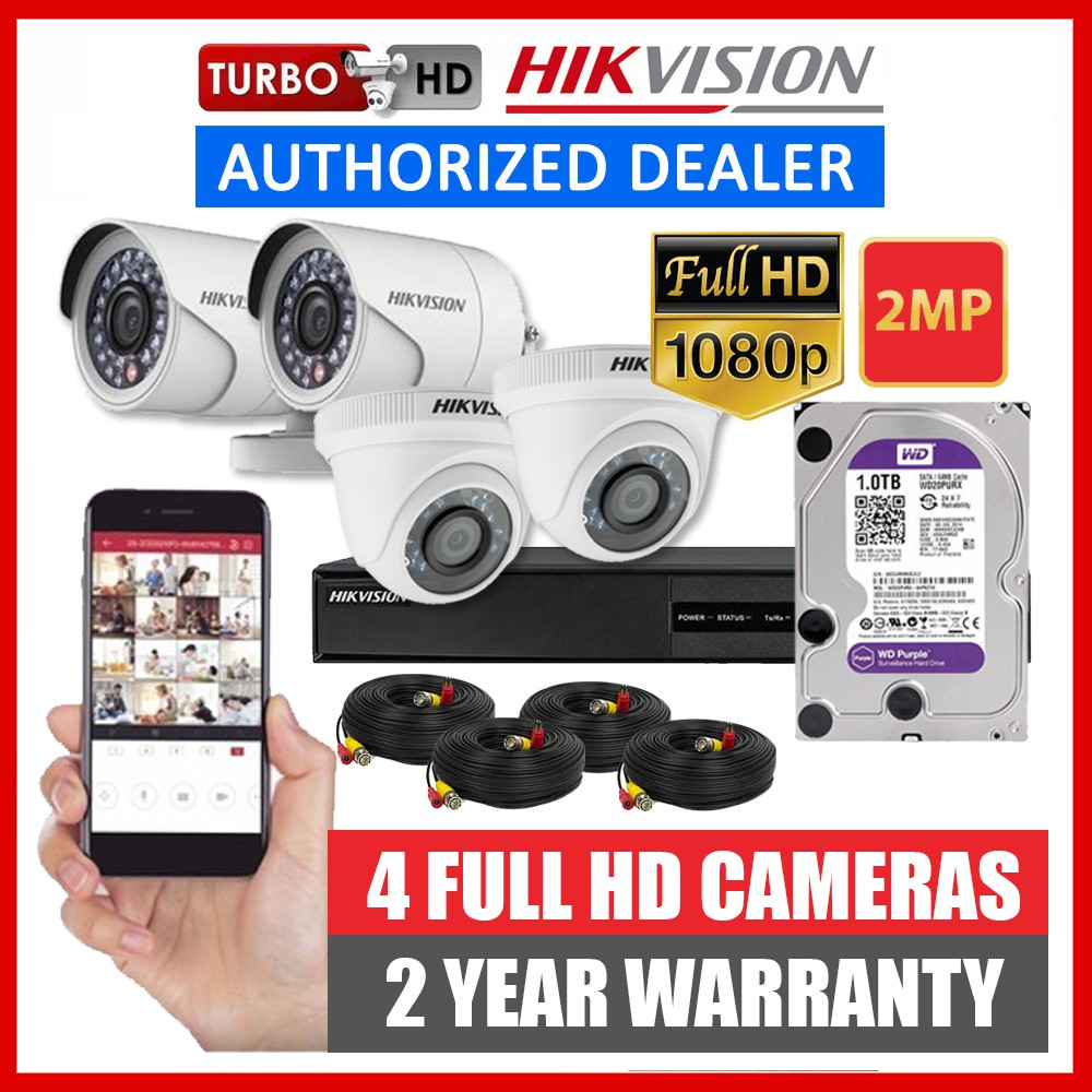 Hikvision 4CH 2MP HD CCTV Package DIY Kit 1080p - 4 Camera