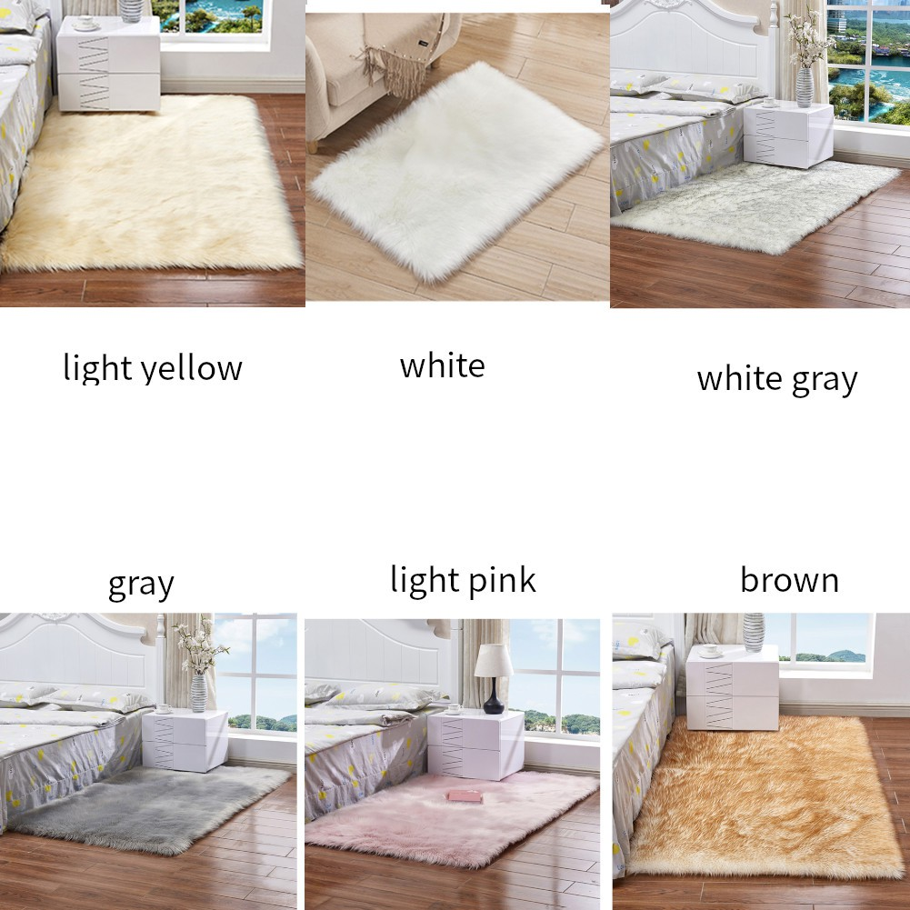 New Square Artificial Wool Carpet Washable Seat Pad Faux Mat Bedroom Decor Shopee Philippines