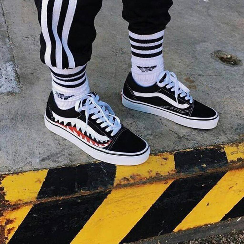 promo code b15d3 a36b1 Ready Stock Vans x Bape sharktooth Custom Sneakers Men/Women Canvas shoes