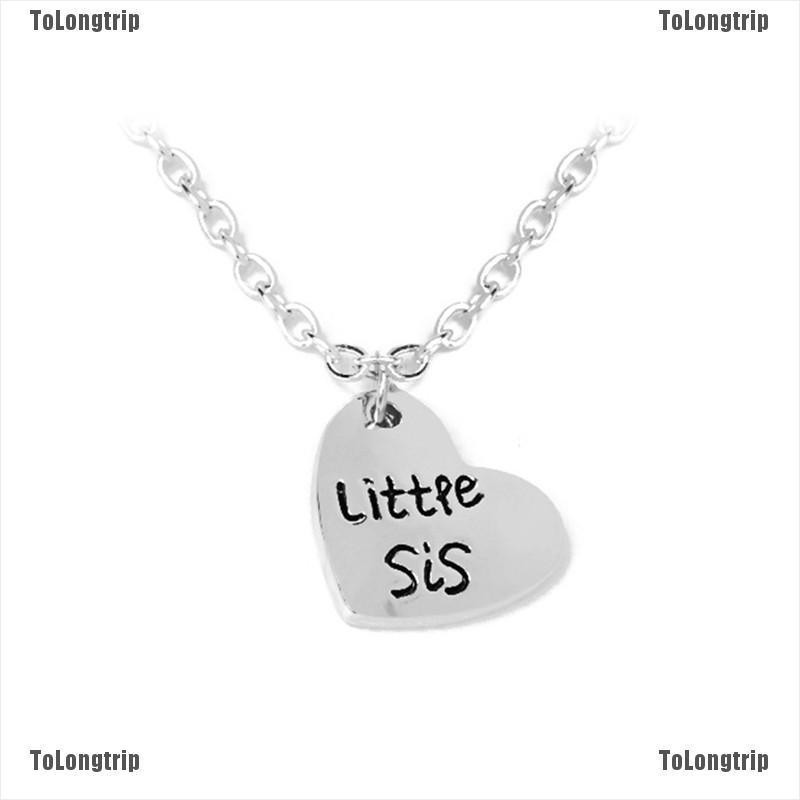 "2pcs Sister Necklace Matching /""Little Sister Big Sister/"" Pendant Necklace KI"