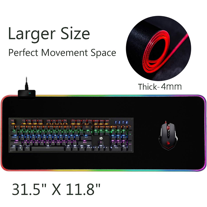 GMS-X5 RGB Colorful LED Lighting Gaming Mouse Pad Soft Large Computer Game  Mousepad