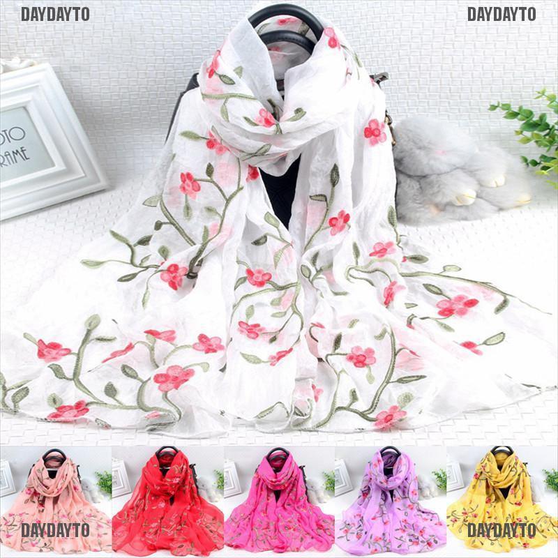 Fashion Women Embroidery Cotton Wrap Shawl Scarf Elegant Lady Soft Warm Scarves