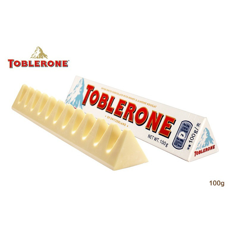 Toblerone White Chocolate With Honey Almond Nougat 100g