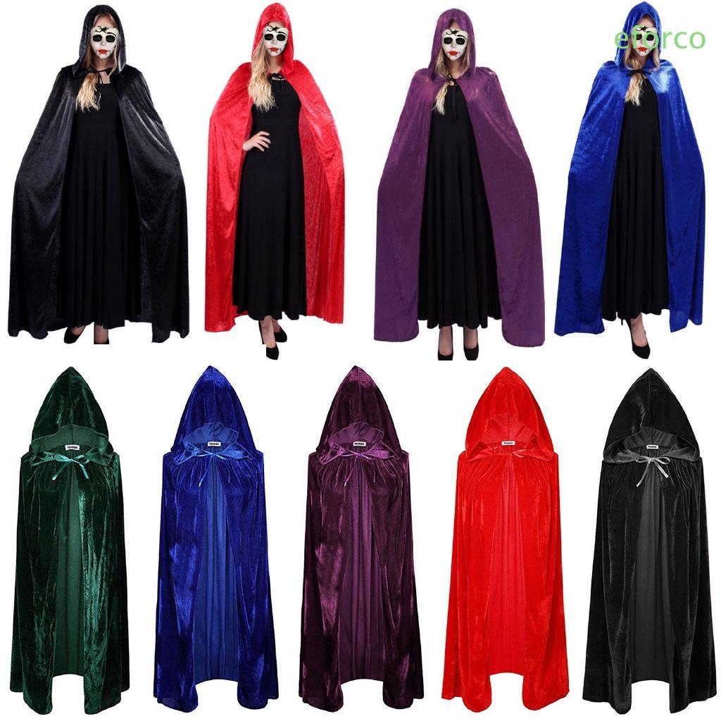 Medieval Velvet Hooded Cloak Wicca Long Robe Halloween Cosplay Costume Cape US