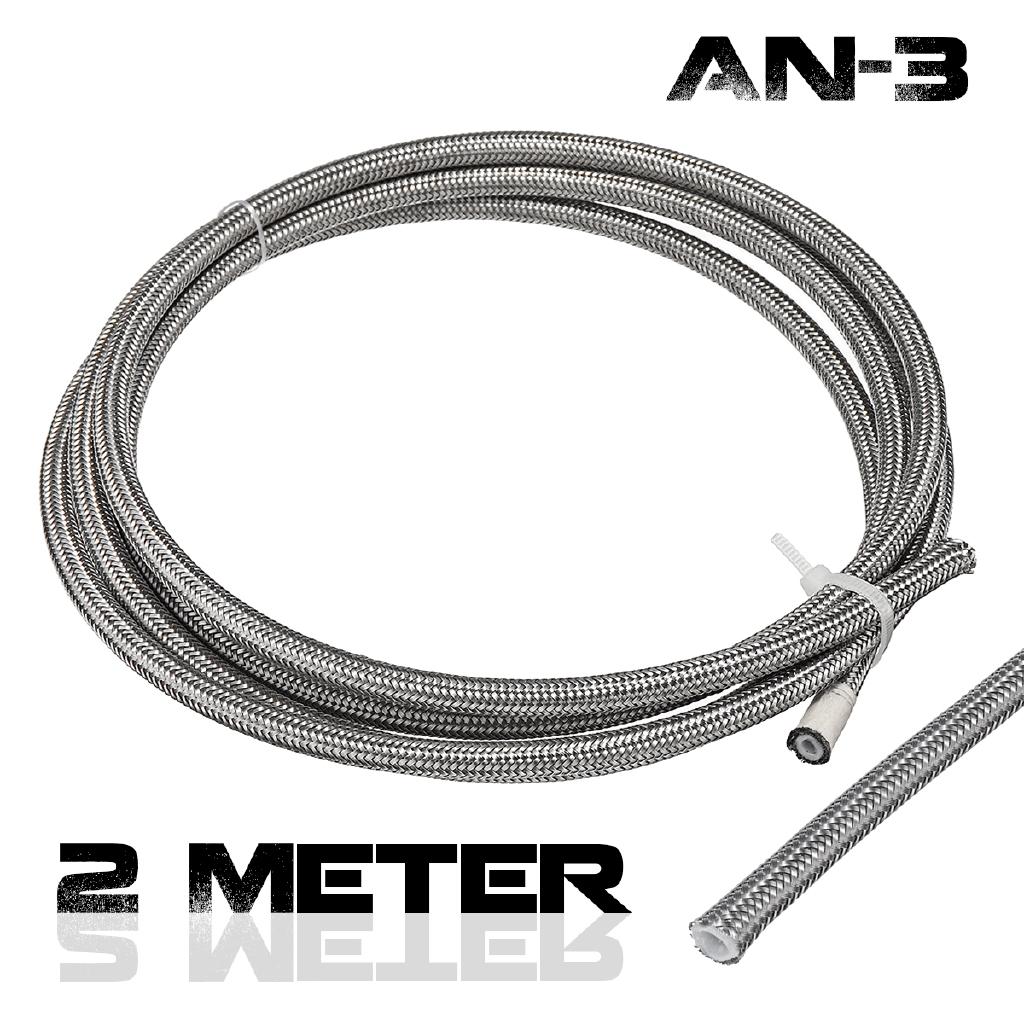 Stainless Braided Flexible PTFE Brake Hose 3.5mm I.D Sold per mtr