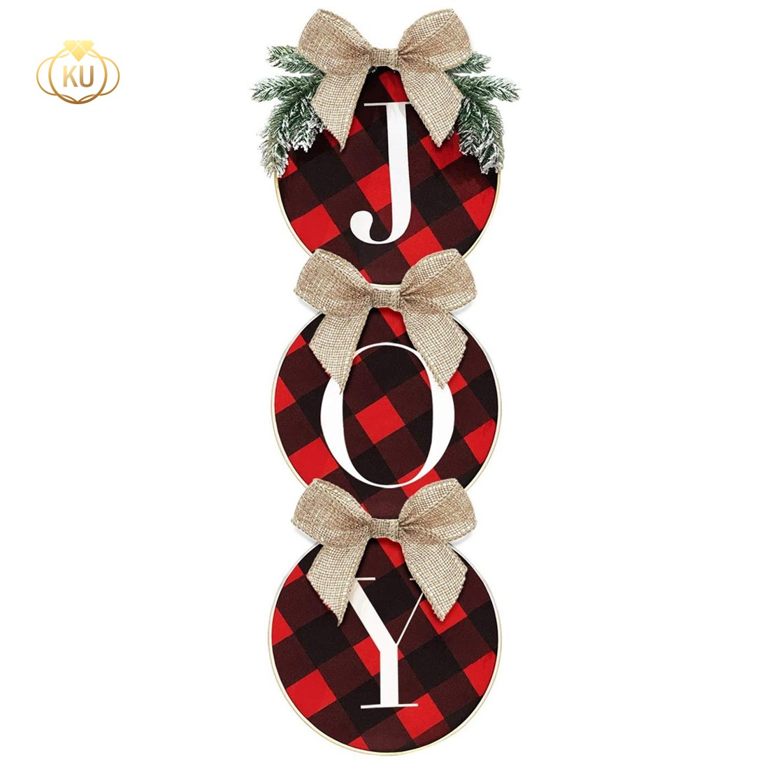 On Sale Christmas Decorations Joy Sign Buffalo Check Plaid Wreath For Front Door Home Window Wall Farmhouse Indoor Outdoor Shopee Philippines